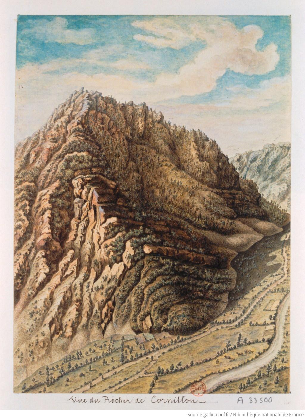 Vue du rocher de cornillon avec une partie du cours de la - Dessin rocher ...