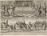 Le festin nuptial du Roy et de la Reine de Pologne - La magnifique entrée des Ambassadeurs Polonois dans la ville de Paris le 19 septembre [1645].  Estampe de  F. Campion