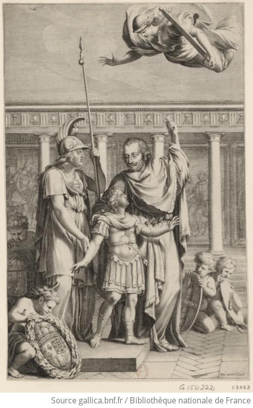 Le Cardinal Mazarin montre au jeune Louis XIV une figure, portant ...