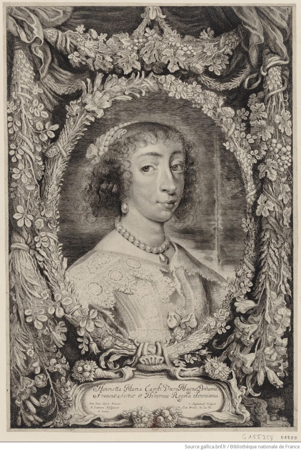 portrait d 39 henriette de france reine d 39 angleterre en buste de 3 4 dirig droite dans une. Black Bedroom Furniture Sets. Home Design Ideas