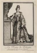 Portrait de la Reine de Pologne Marie Casimire, en pied<br> Estampe par R. Bonnart.