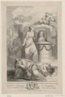 Portrait de Marie Leczinska reine de France, en buste, de 3/4 dirigé à droite dans un médaillon ovale posé sur un autel entouré de figures allégoriques  Littret. 1767