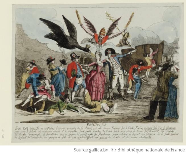 Fuite du Roi : Louis XVI déguisé en cuisinier, s'avance precede de la  Reine, qui elle meme s'appuye sur le Comte Fersen... : [estampe] / [non  identifié]   Gallica