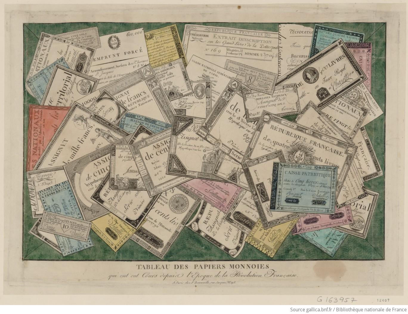 Tableau des papiers monnoies qui ont eut cours depuis l'epoque de la Révolution française : [estampe] / [non identifié] - 1