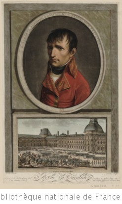 Portrait de Napoléon Bonaparte, en buste, de 3/4 dirigé à gauche dans une bordure ovale placée au-desus d
