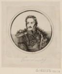 Portrait du prince Poniatowski, en buste, de 3/4 dirigé à gauche dans une bordure ronde