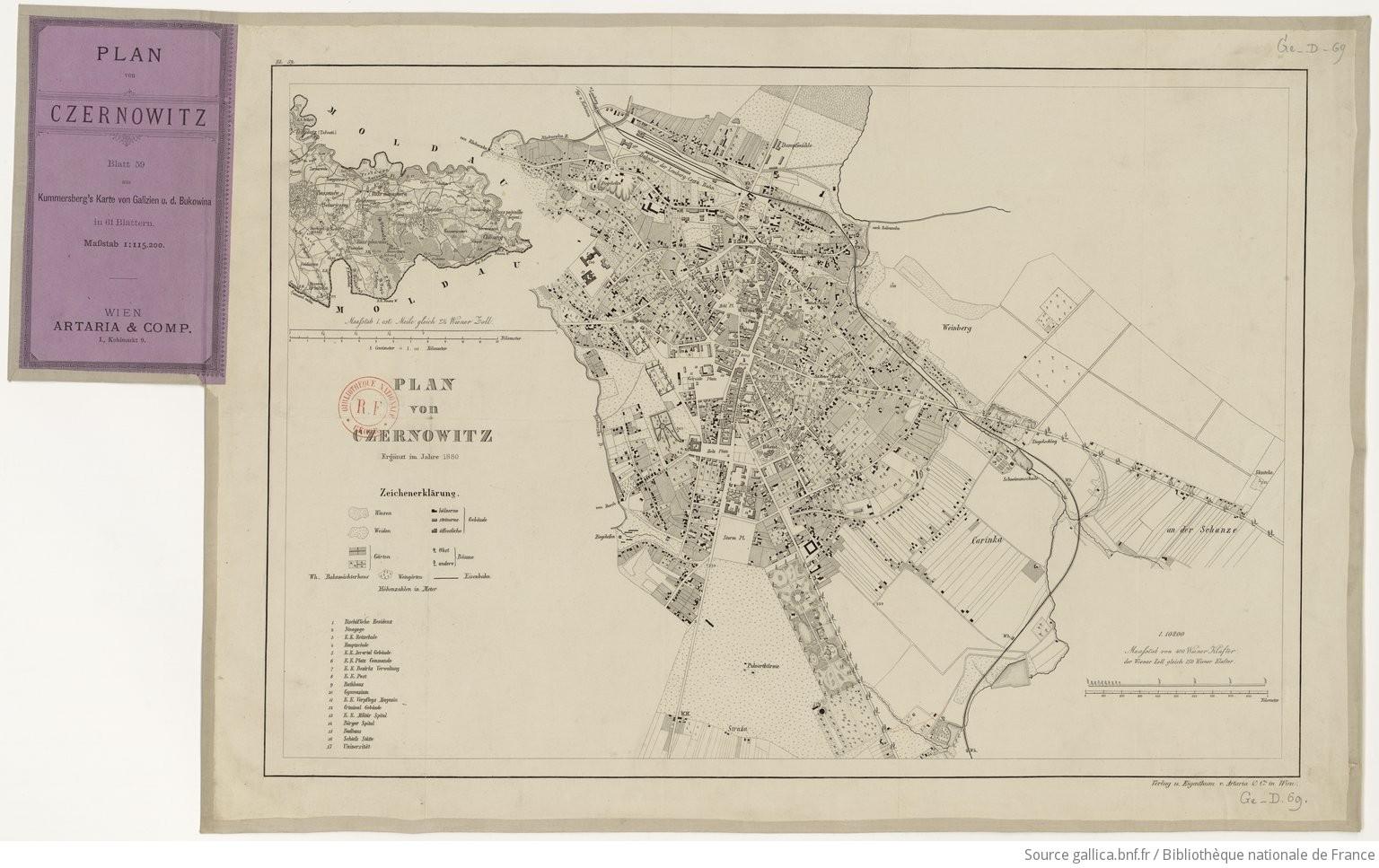 Galizien Karte.Plan Von Czernovitz 1 115 200 Blatt 59 Aus Kummorsberg S Karte Von
