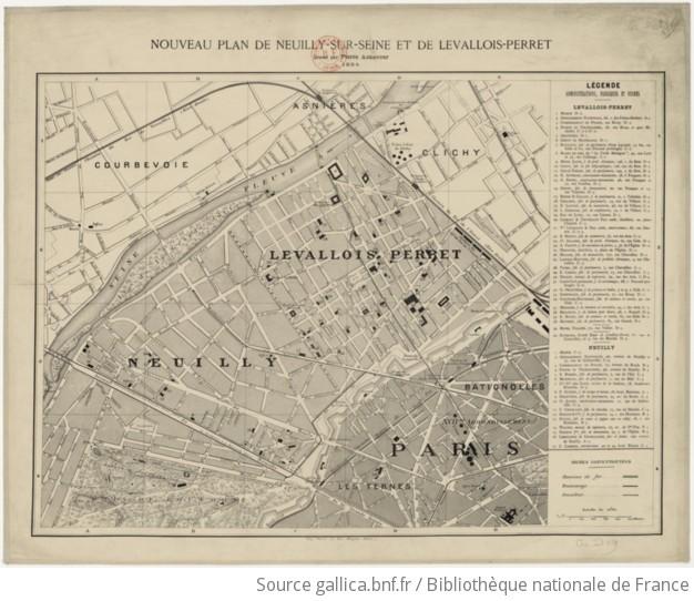 Nouveau Plan De Neuilly Sur Seine Et De Levallois Perret Dresse Par Pierre Aznavour 1884 Gallica