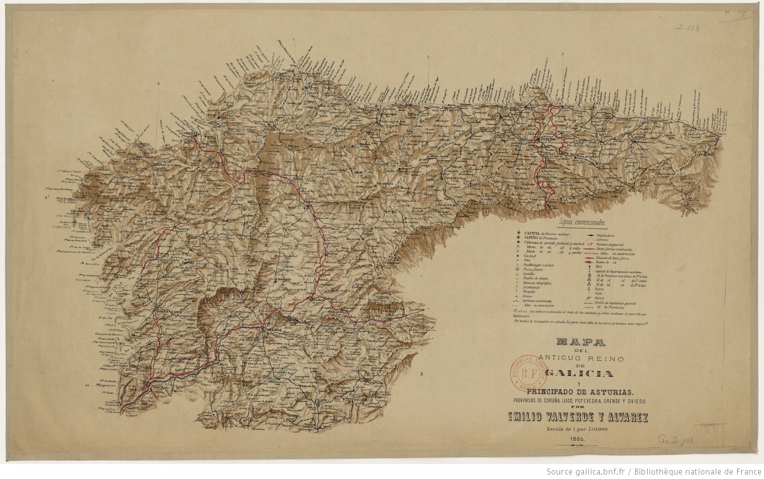 Mapa Reino De Asturias.Mapa Del Antiguo Reino De Galicia Y Principado De Asturias Provincias De Coruna Lugo Pontevedra Orense Y Oviedo Por Emilio Valverde Y Alvarez Gallica