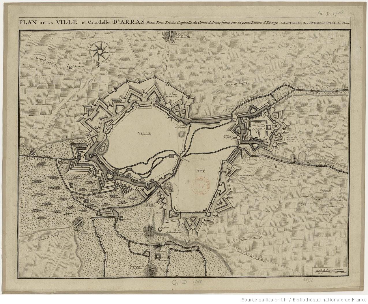 Arras plan de la ville et citadelle d 39 arras place for Piscine d arras