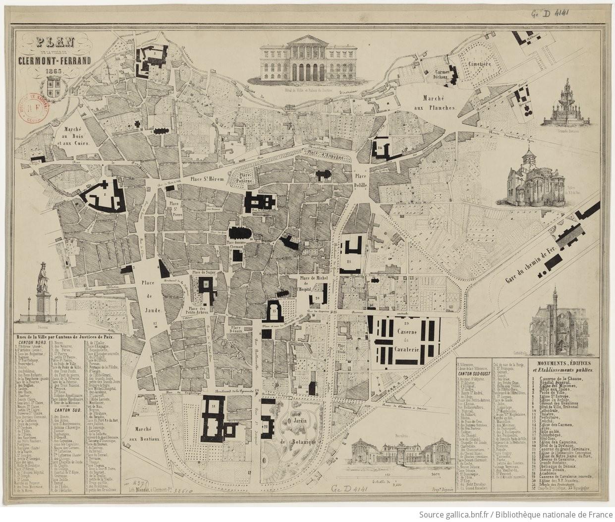 plan de la ville de clermont ferrand 1865. Black Bedroom Furniture Sets. Home Design Ideas