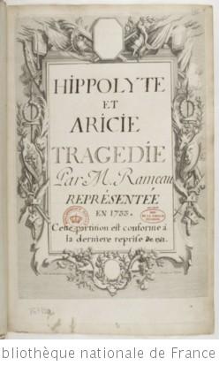 HIPPOLYTE ET ARICIE - Manuscrit (ca 1743)