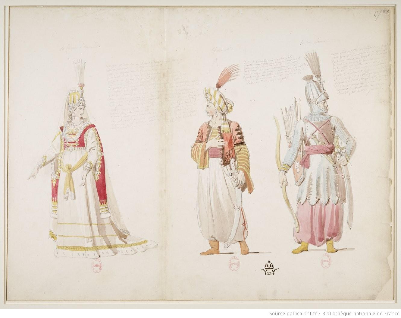 La femme d'Agorante / Richardot / le roi Ircano : [1824] : [maquette de costume] / [Alexandre-Evariste Fragonard]