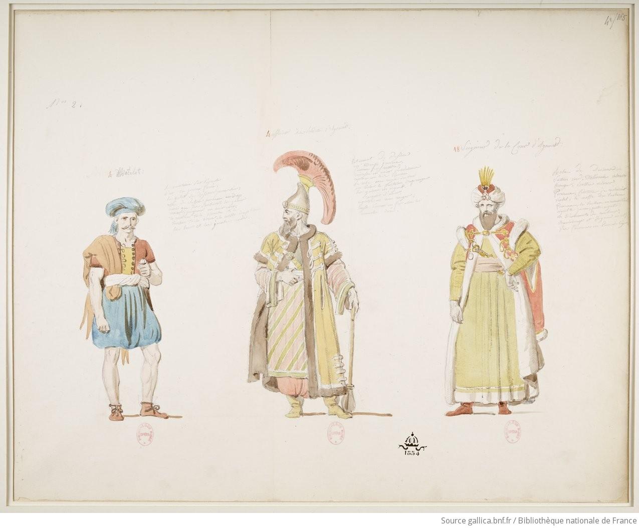 Matelot / Officier des soldats d'Agorante / Seigneur de la cour d'Agorante : [1824] : [maquette de costume] / [Alexandre-Evariste Fragonard]