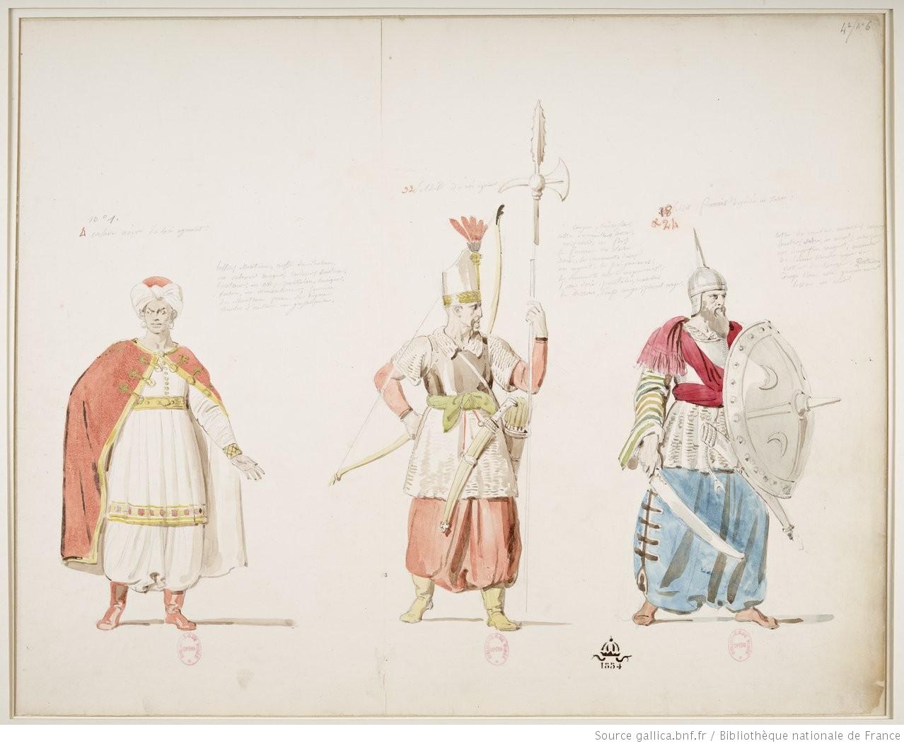 Esclave noir du roi d'Agorante / Soldat du roi d'Agorante / Soldat français déguisé en turc : [1824] : [maquette de costume] / [Alexandre-Evariste Fragonard]