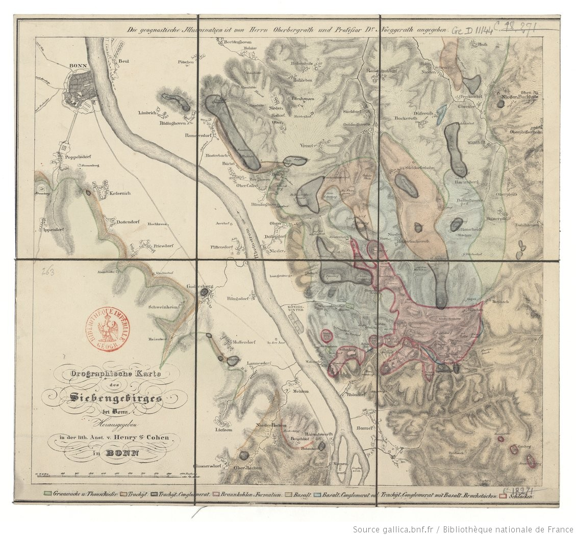 Bonn Karte.Orographische Karte Des Siebengebirges Bei Bonn Von Dr