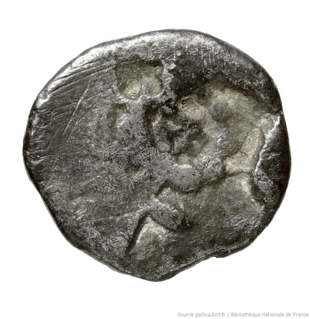 Οπισθότυπος 'SilCoinCy A4442, Fonds général, acc.no.: Babelon 572. Silver coin of king Evelthon's successors of Salamis 500 - 478 BC. Weight: 0.79g, Axis: 12h, Diameter: 9mm. Obverse type: ram's head left. Obverse symbol: -. Obverse legend: - in -. Reverse type: Ankh, the ring formed of pellets ranged about a linear circle; in circle, cypriot syllabic sign.. Reverse symbol: -. Reverse legend: - in -. 'Catalogue des monnaies grecques de la Bibliothèque Nationale: les Perses Achéménides, les satrapes et les dynastes tributaires de leur empire: Cypre et la Phénicie'.