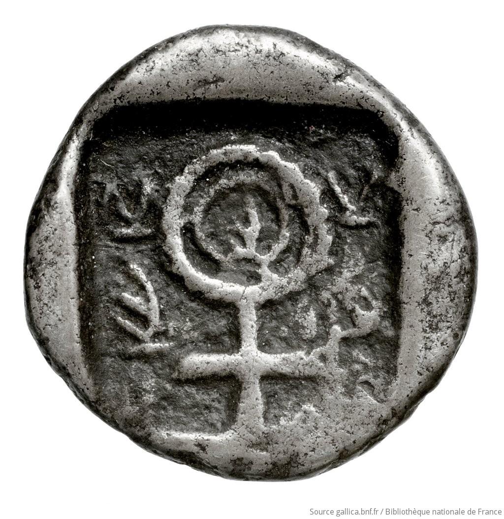 Οπισθότυπος 'SilCoinCy A4445, Fonds général, acc.no.: Babelon 574. Silver coin of king Nikodamos of Salamis 450 BC - . Weight: 2.93g, Axis: 3h, Diameter: 14mm. Obverse type: ram lying l.. Obverse symbol: -. Obverse legend: si-le in Cypriot syllabic. Reverse type: Ankh symbol, with plain double ring, and double bar: the whole in incuse square.. Reverse symbol: -. Reverse legend: ni-mi-la-se in Cypriot syllabic. 'Catalogue des monnaies grecques de la Bibliothèque Nationale: les Perses Achéménides, les satrapes et les dynastes tributaires de leur empire: Cypre et la Phénicie'.