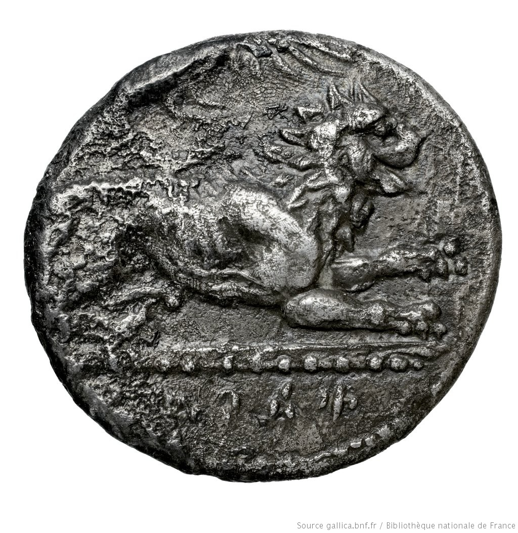 Εμπροσθότυπος 'SilCoinCy A4574, Fonds général, acc.no.: Babelon 730A. Silver coin of king (-)timos of Amathous 385/380 BC - . Weight: 6.36g, Axis: 5h, Diameter: 20mm. Obverse type: Lion lying right, jaws open, on dotted exergual line; above, eagle flying right. Legend on raised band. Obverse symbol: -. Obverse legend: - in -. Reverse type: Forepart of lion right, jaws open: border of dots.. Reverse symbol: -. Reverse legend: - in -. 'Catalogue des monnaies grecques de la Bibliothèque Nationale: les Perses Achéménides, les satrapes et les dynastes tributaires de leur empire: Cypre et la Phénicie'.