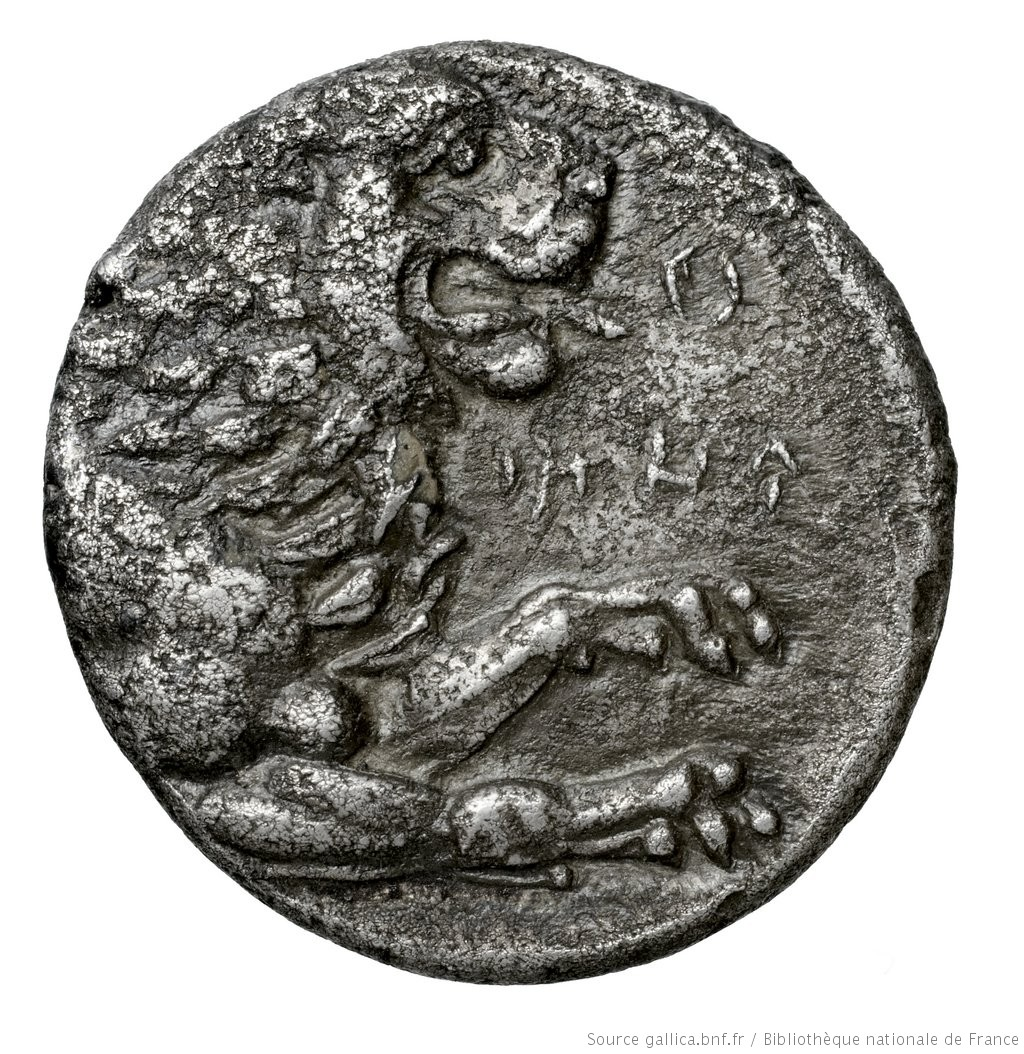 Οπισθότυπος 'SilCoinCy A4574, Fonds général, acc.no.: Babelon 730A. Silver coin of king (-)timos of Amathous 385/380 BC - . Weight: 6.36g, Axis: 5h, Diameter: 20mm. Obverse type: Lion lying right, jaws open, on dotted exergual line; above, eagle flying right. Legend on raised band. Obverse symbol: -. Obverse legend: - in -. Reverse type: Forepart of lion right, jaws open: border of dots.. Reverse symbol: -. Reverse legend: - in -. 'Catalogue des monnaies grecques de la Bibliothèque Nationale: les Perses Achéménides, les satrapes et les dynastes tributaires de leur empire: Cypre et la Phénicie'.