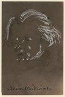 Adam Mickiewitz [i.e. Mickiewicz] : caricature, esquisse d'une tête de trois quarts, à gauche <br> Nadar (1820-1910). 185.