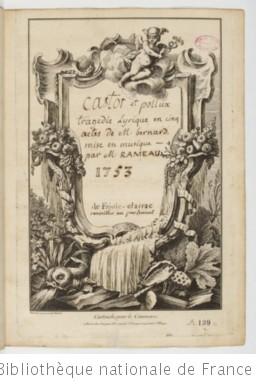 CASTOR ET POLLUX (1737) - Manuscrit (1757)