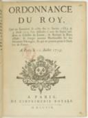 Ordonnance du Roy qui [...] fait deffenses à tous ses sujets résidents ès Échelles de Levant, de Barbarie et ports d'Italie, de charger aucunes marchandises sur des bâtiments estrangers et qui ne portent point le pavillon de France...  Louis XV. 1719