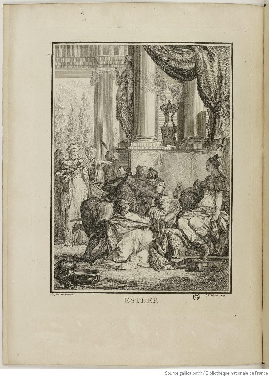 Esther, illutration extraite des Oeuvres de Racine (M.-E. David, 1760)