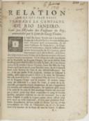 Relation de ce qui s'est passé pendant la campagne de Rio Janeiro, faite par l'escadre des vaisseaux du Roi, commandée par le sieur Du Guay-Trouin  1712