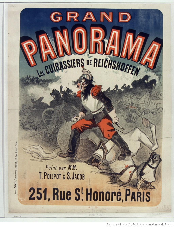 Panorama grandiose. Les cuirassiers de Reichshoffen peint par MM. T. Poilpot et S. Jacob ...: [Affiche] / [non Signée] - 1