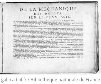 DE LA MÉCANIQUE DES DOIGTS SUR LE CLAVECIN - 1724