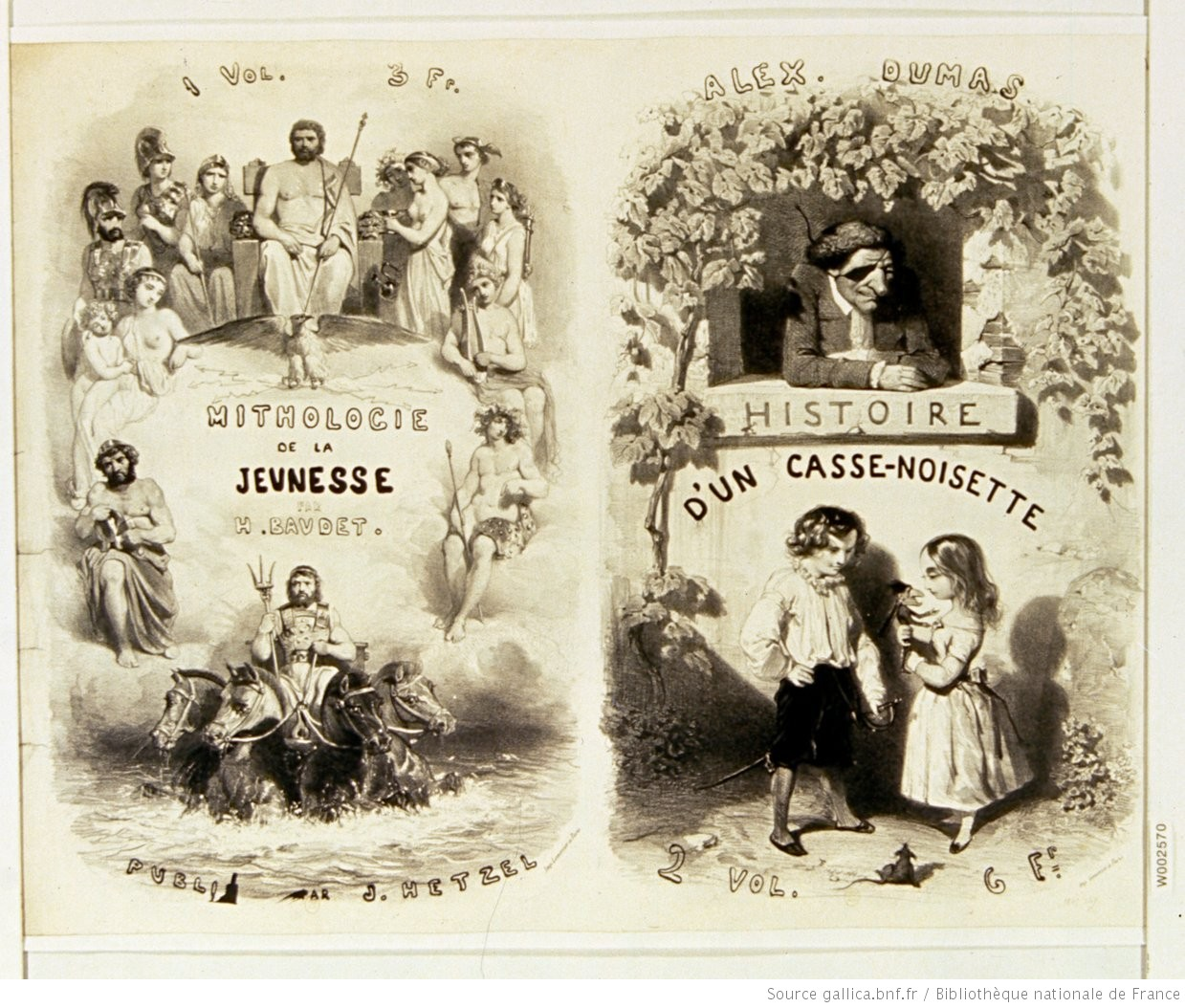 Mithologie [sic] de la jeunesse par H. Baudet publié par J. Hetzel ... - Alex. Dumas, Histoire d'un Casse-Noisette ... : [affiche] / [non identifié]