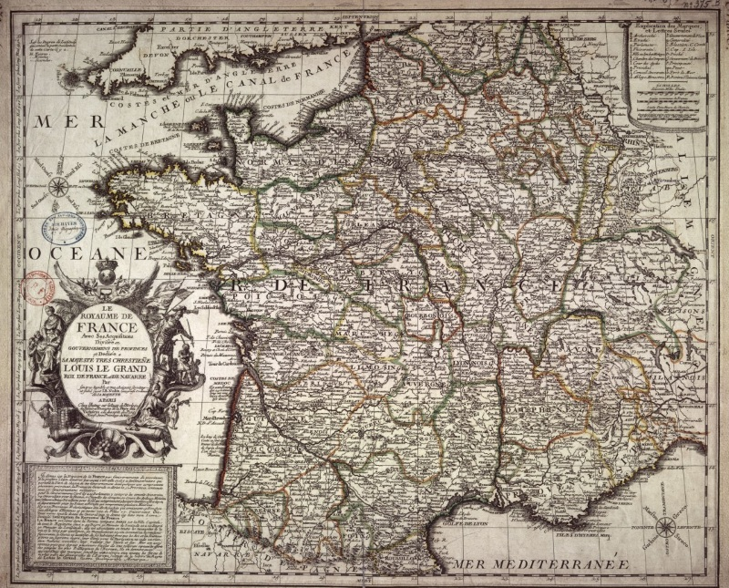 carte de france au xviiieme siecle