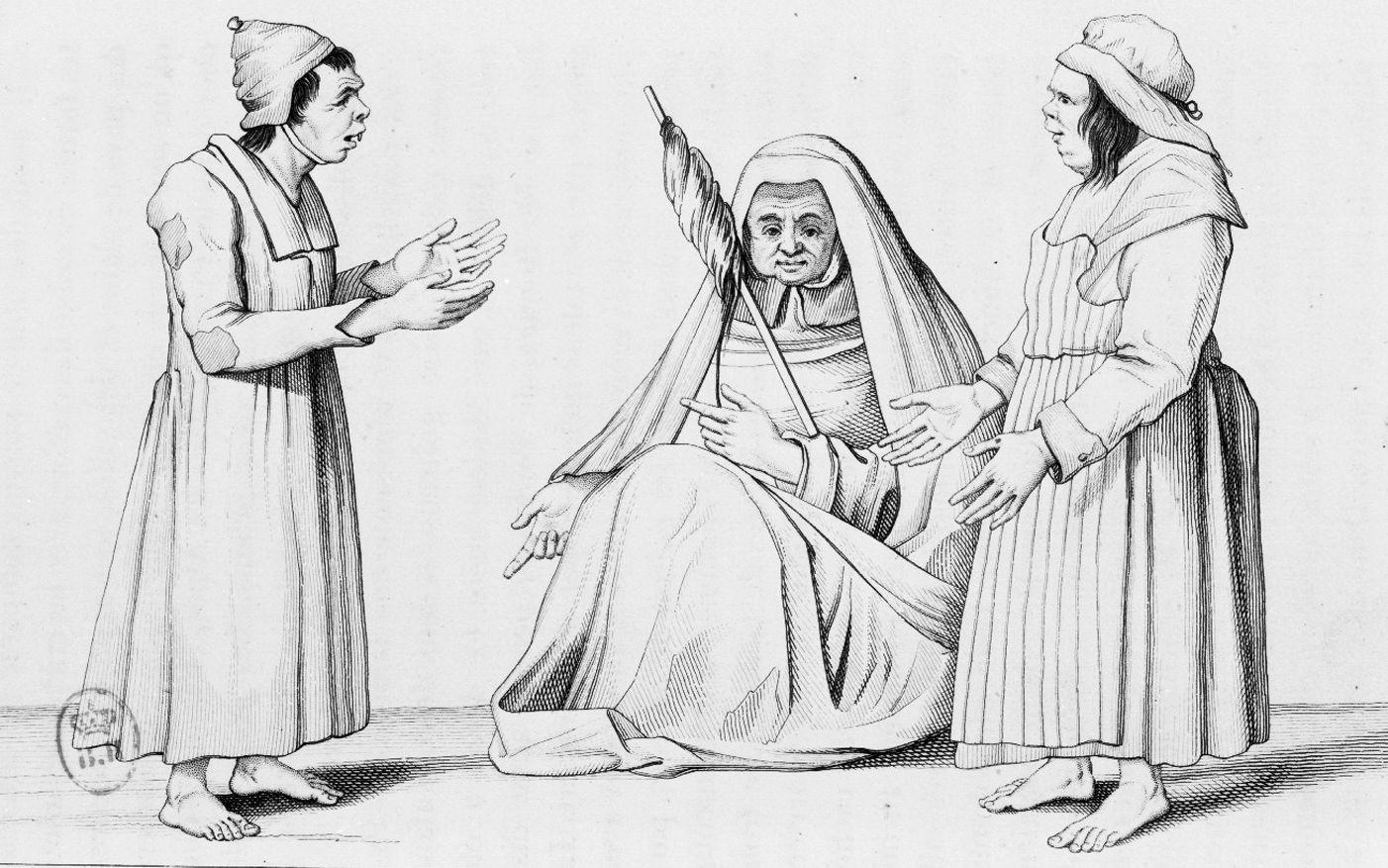 Groupe de trois vieilles femmes aliénées