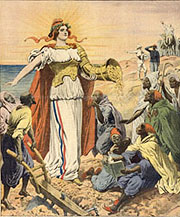 Couverture du Petit Journal. La France va pouvoir porter librement au Maroc la civilisation, la richesse et la paix.