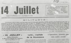 """Accéder à la page """"14 juillet. Organe de la résistance de la sous-région de Lyon"""""""