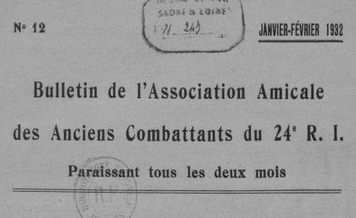 """Accéder à la page """"Bulletin de l'Association amicale des anciens combattants du 24e R. I."""""""