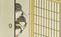 """""""La visite, par Outamaro"""". Le Japon Artistique, n° 28 (août 1890). RESERVE 4-YA5-1. Vue 121"""
