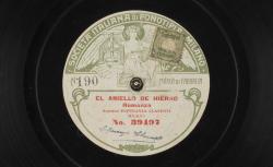 [Zarzuela] El aniello de hierro. Romanza / Manuel Fernández Caballero, comp. ; Esperanza Clasenti, soprano ; acc. au piano - source : gallica.bnf.fr / BnF