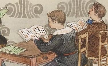 L. de Rosny enseignant. aquarelle de Goseida.  L. de Rosny, Anthologie japonaise, 1871. SMITH LESOUEF R-10477 p. VI