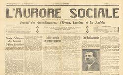 """Accéder à la page """"Aurore sociale, Organe du Parti socialiste SFIO, syndicaliste, féministe et coopératif"""""""