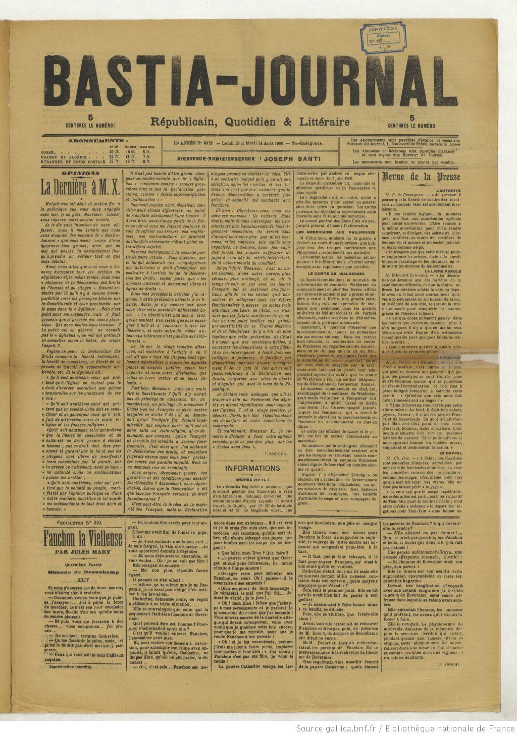 Titre disponible de 1886 à 1901