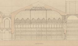 Bibliothèque impériale, projet de restauration : coupe des bâtiments depuis la rue colbert jusqu'à la rue des petits champs. Henri Labrouste, 1859.