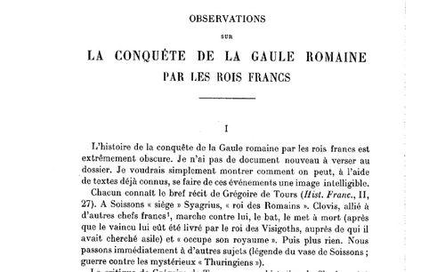 """Accéder à la page """"Marc Bloch, Observations sur la conquête de la Gaule romaine par les rois francs"""""""
