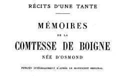 """Accéder à la page """"Boigne, comtesse de, Récits d'une tante, Mémoires"""""""