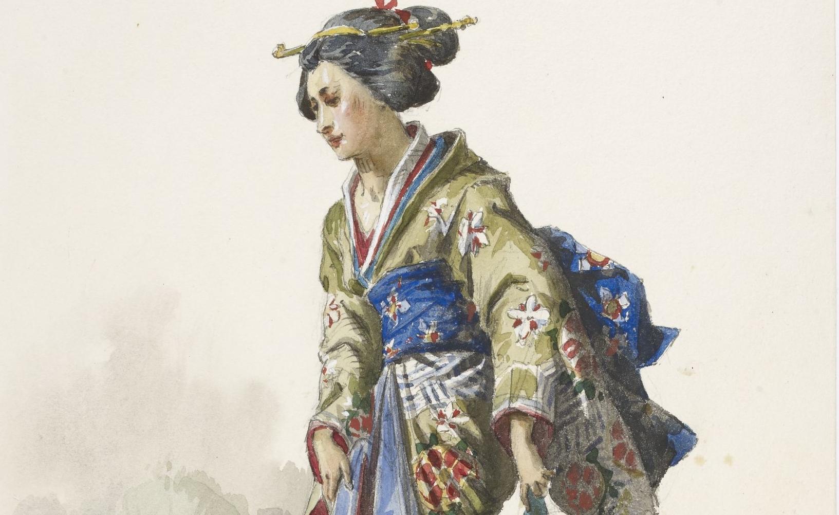 Eugène  Lacoste, Yedda : cinquante-huit maquettes de costumes, 1878-1879.