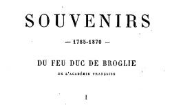 """Accéder à la page """"Broglie, Victor duc de, Souvenirs"""""""
