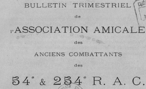 """Accéder à la page """"Bulletin trimestriel de l'Association amicale des anciens combattants des 54e et 254e R.A.C."""""""