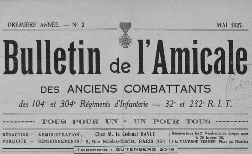 """Accéder à la page """"Bulletin de l'Amicale des anciens combattants des 104e et 304e régiments d'infanterie - 32e et 232e R.I.T. """""""
