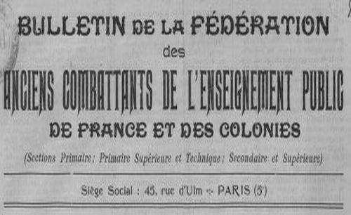 """Accéder à la page """"Bulletin de la Fédération des anciens combattants de l'enseignement public de France et des colonies"""""""